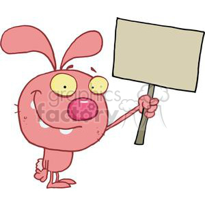 A yellow bug eyed pink rabbit hold up sign clipart. Royalty.