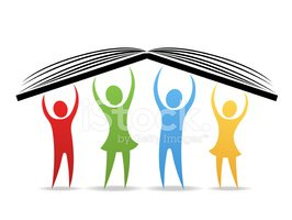 People Hold UP Book Stock Vector.
