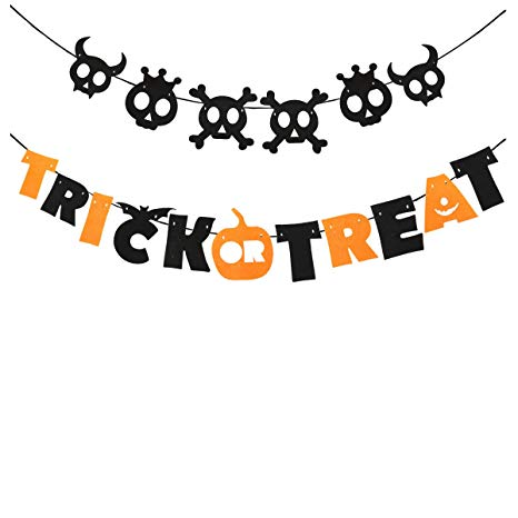 Tinksky Trick or Treat Halloween Garland Banner Hanging Decoration Indoors  Nonwoven Halloween Banner.
