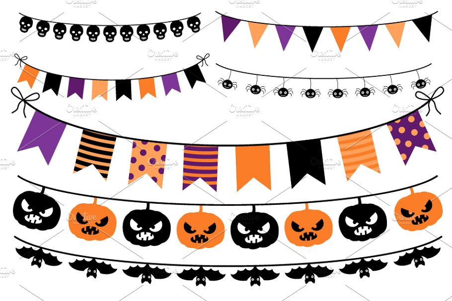 Halloween banner, Bunting Clip art.