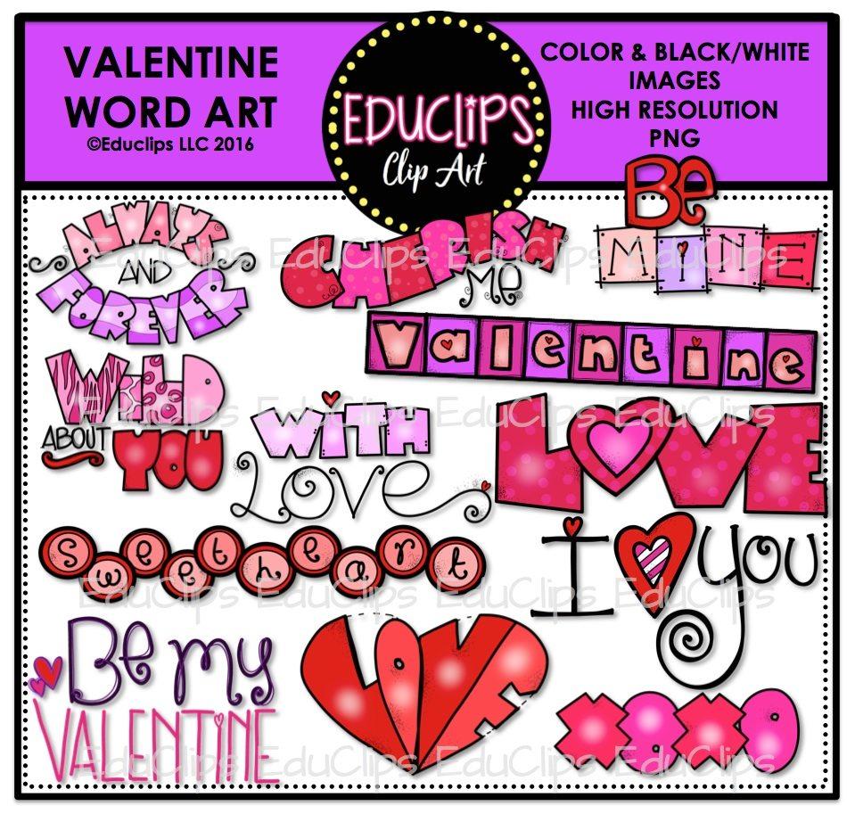 Valentine Word Clip Art Bundle (Color and B&W).