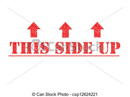Clip Art of THIS SIDE UP red rubber stamp over a white background.