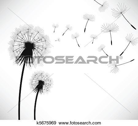 Clip Art of Dandelion Wind Blow Flower k5675969.