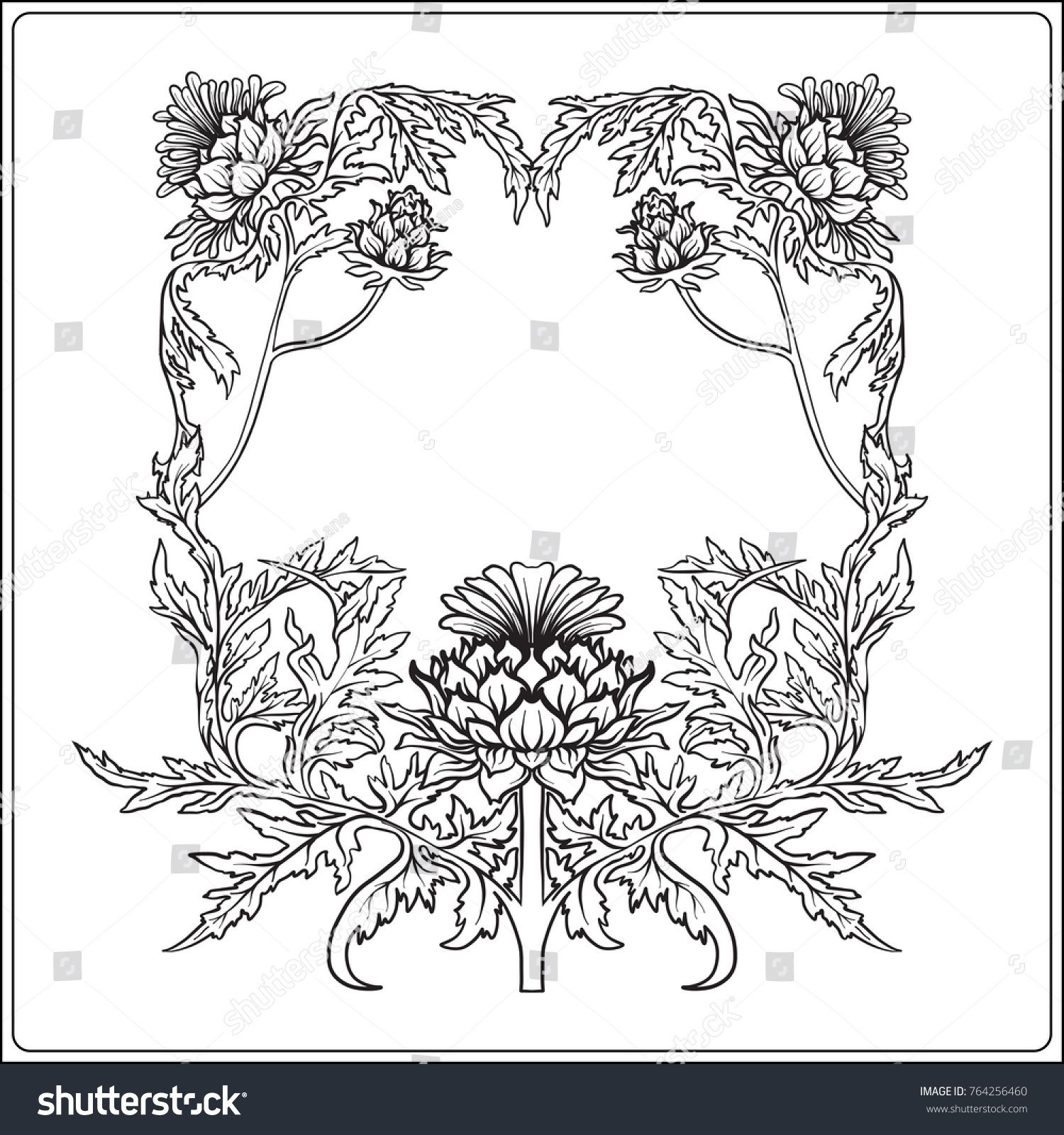 Frame in art nouveau style with thistle. Outline drawing.