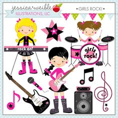 ThistleGirl Rock and Roll Kids Clip Art.