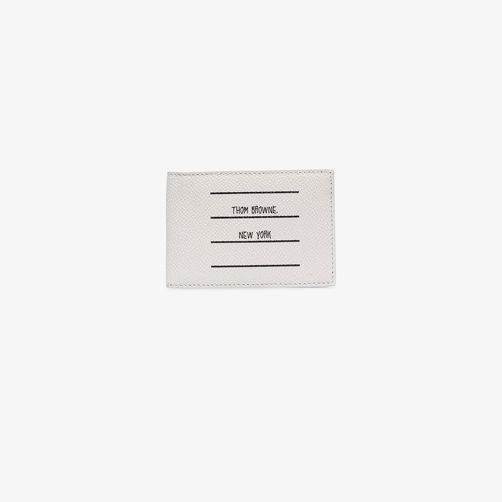 Thom Browne white logo label leather wallet.