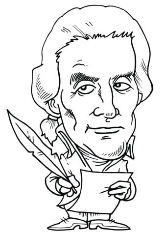 Thomas Jefferson Caricature coloring page.
