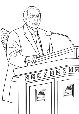 Thomas S. Monson Speaks at the General Conference coloring.