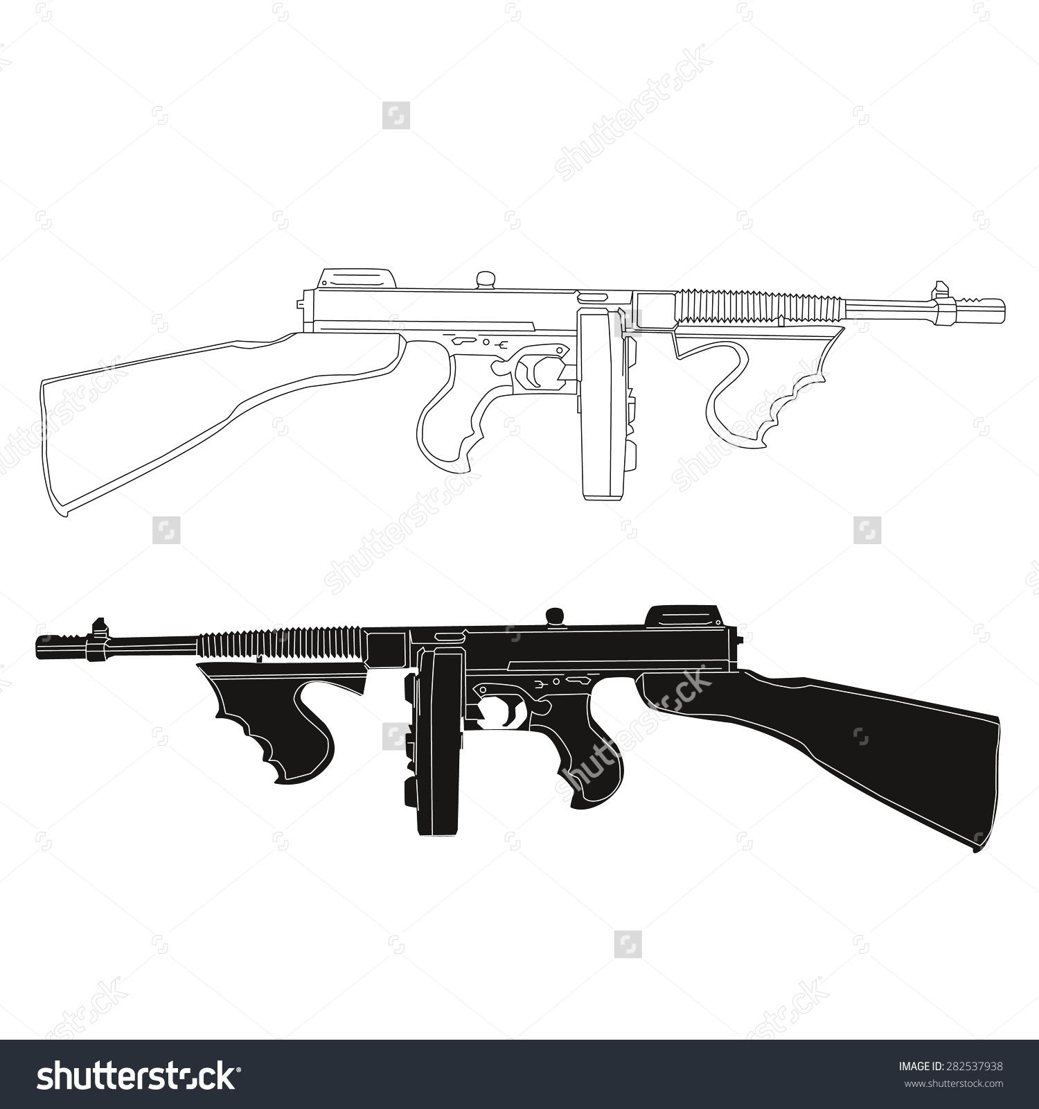Tommy gun clipart.