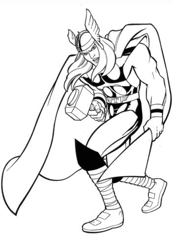 Marvel Thor coloring page.