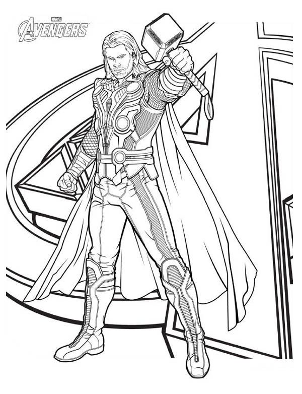 Avengers Character Thor Coloring Page.
