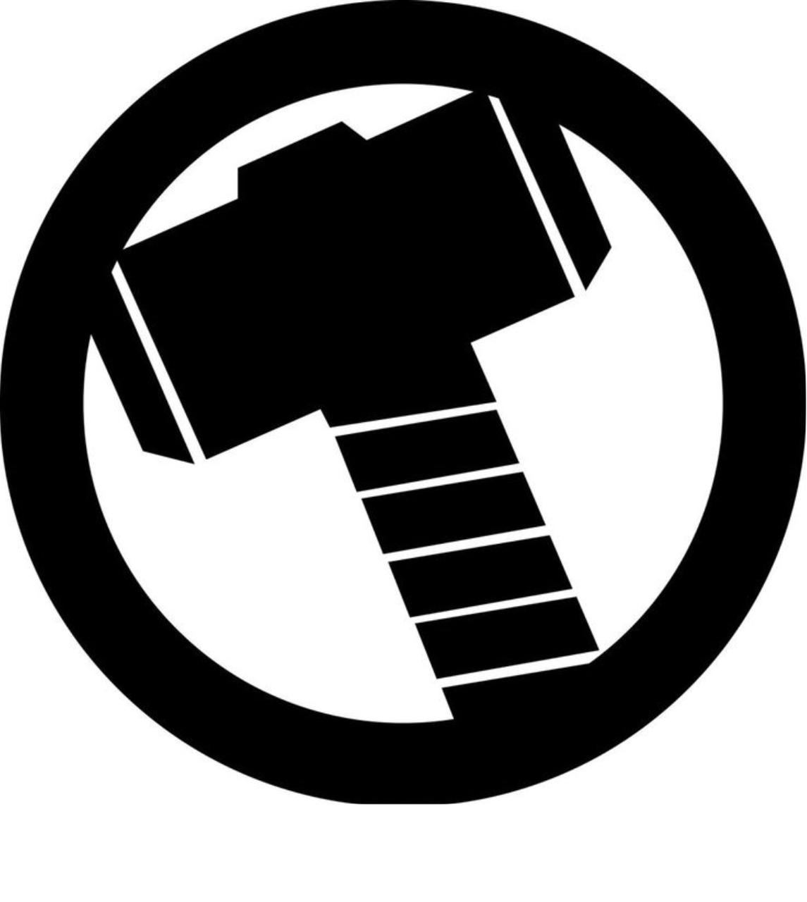 Avengers Marvel Comics Thor Hammer Logo.