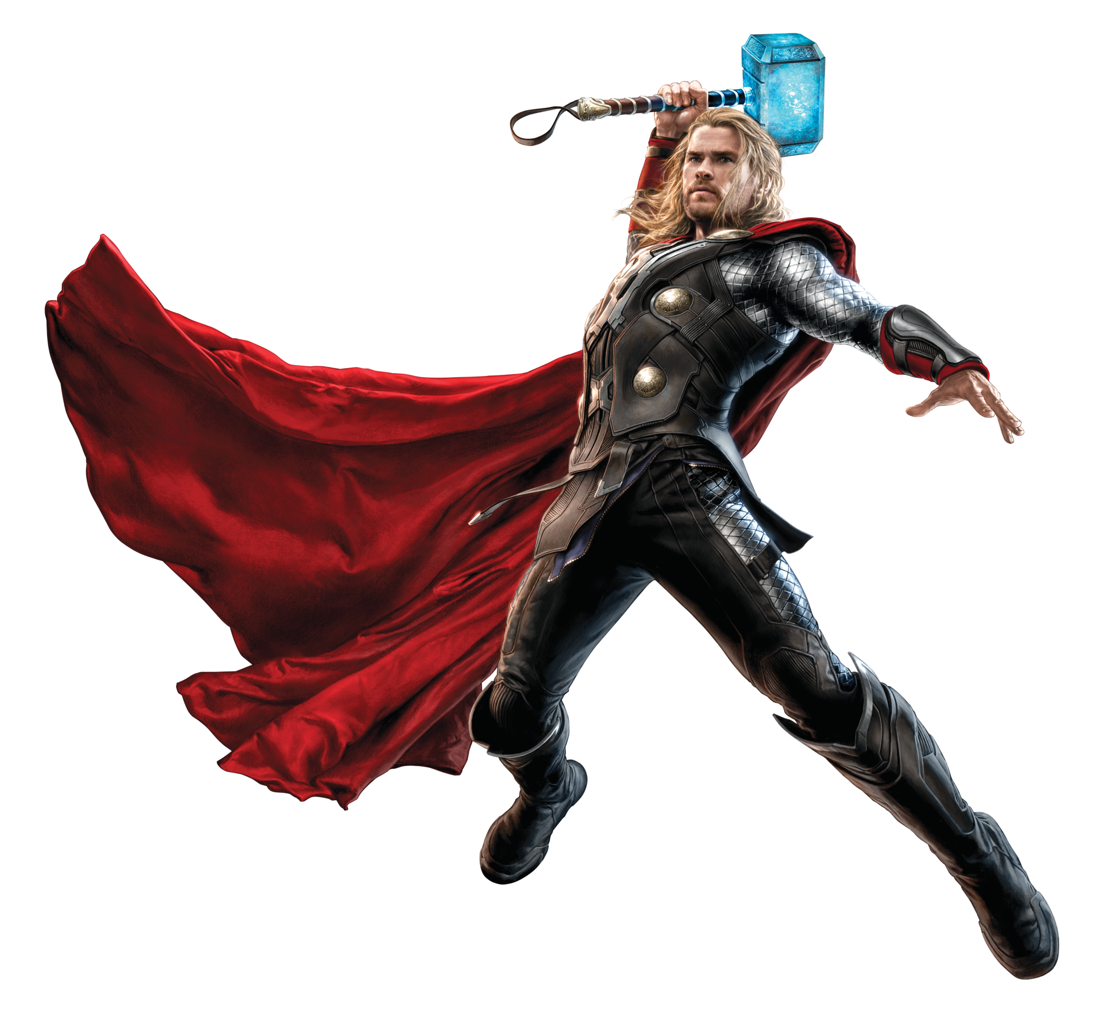 Thor Fighting with his Hammer PNG Image.
