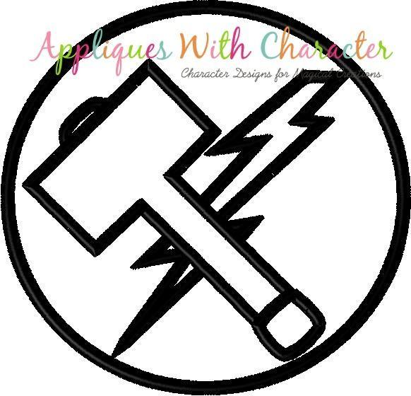 Hammer Lightning Bolt Symbol Applique Design.