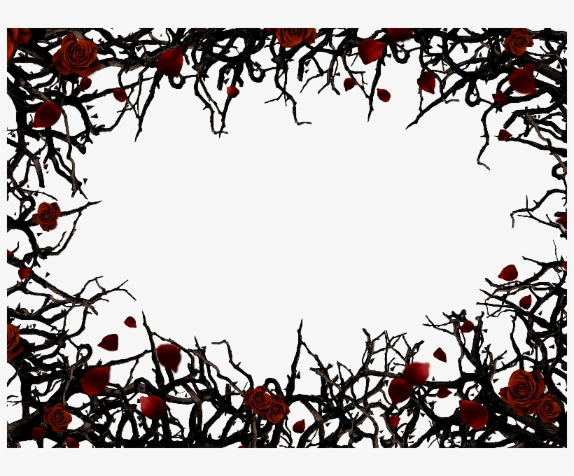 Roses And Thorns Border Frame Png Background Free Nature.