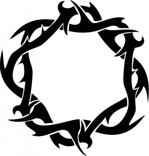 Thorns crown ring clipart top view.