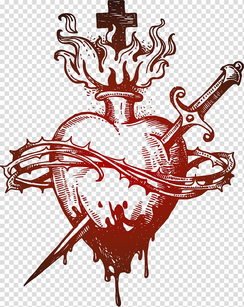Red heart with sword emblem, Euclidean , Pierced the heart.