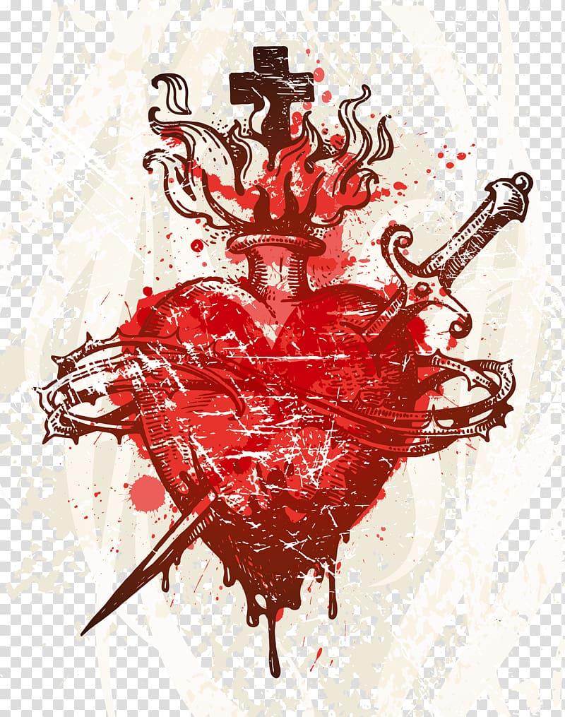 Heart with sword art, Heart, Bloody piercing heart thorns.