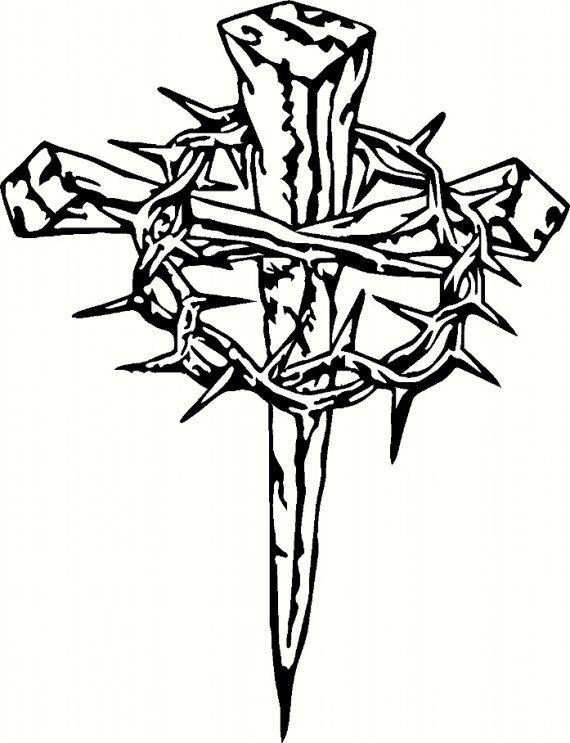 Crown Of Thorns And Cross With Transparent Background Clipart.