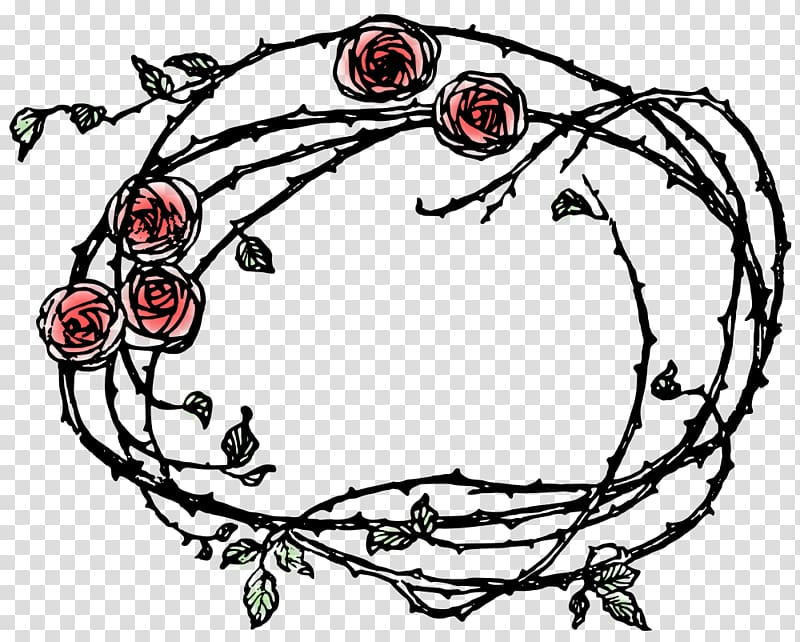 Thorns, spines, and prickles Rose Drawing , teal frame.