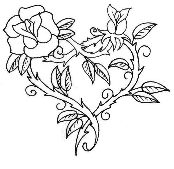 Hearts and Roses with Sharp Thorn Coloring Page: Hearts and.