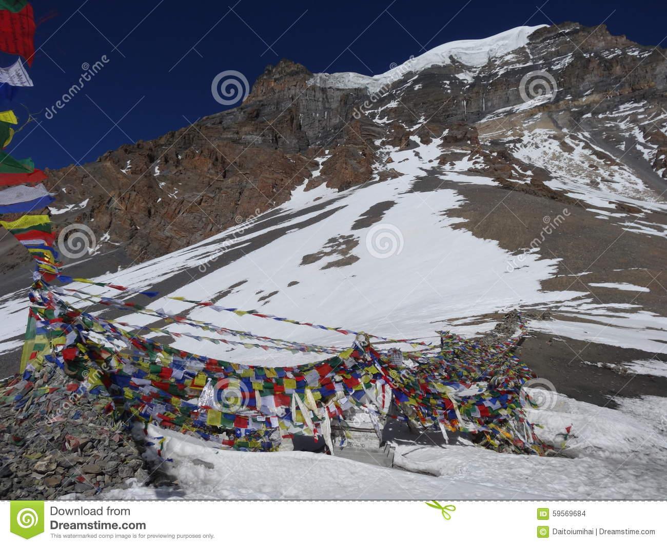 View Of Thorong La Pass. Annapurna Trek, Himalaya, Nepal. Stock.