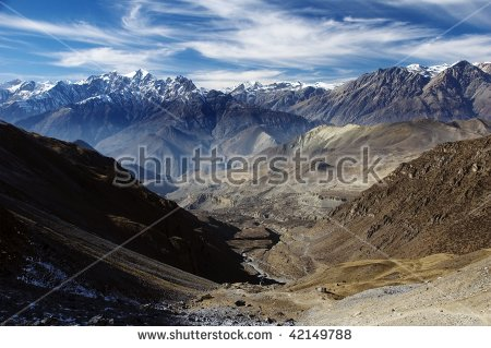 View From Thorung La Pass. Annapurna Conservation Area. Nepal.
