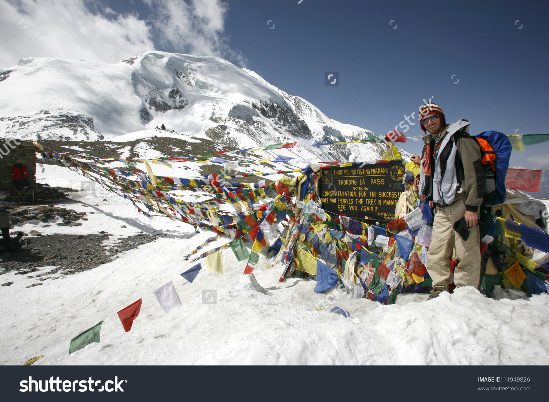 Trekker Thorongla Pass Annapurna Nepal Stock Photo 11949826.