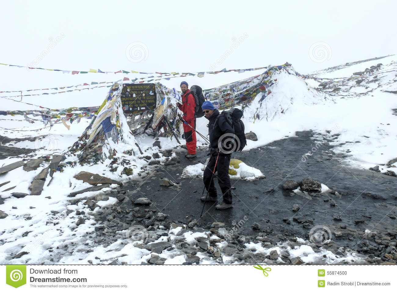 Snowy Weather In Thorong La Pass, Nepal Stock Photo.