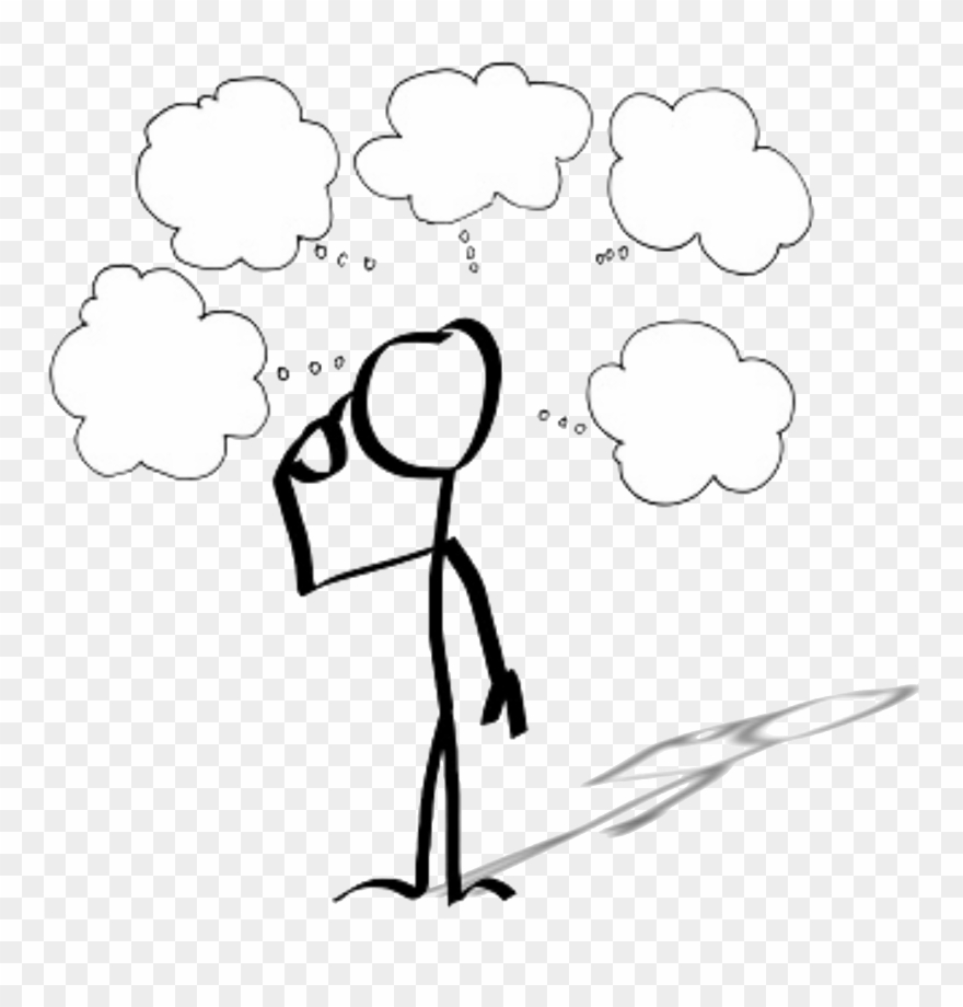 Icon Of A Person With Several Thought Clouds Above.