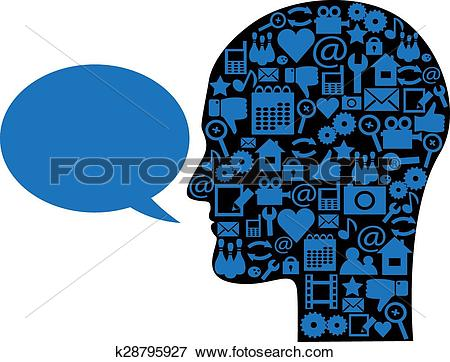 Clip Art of thought process and speech k28795927.