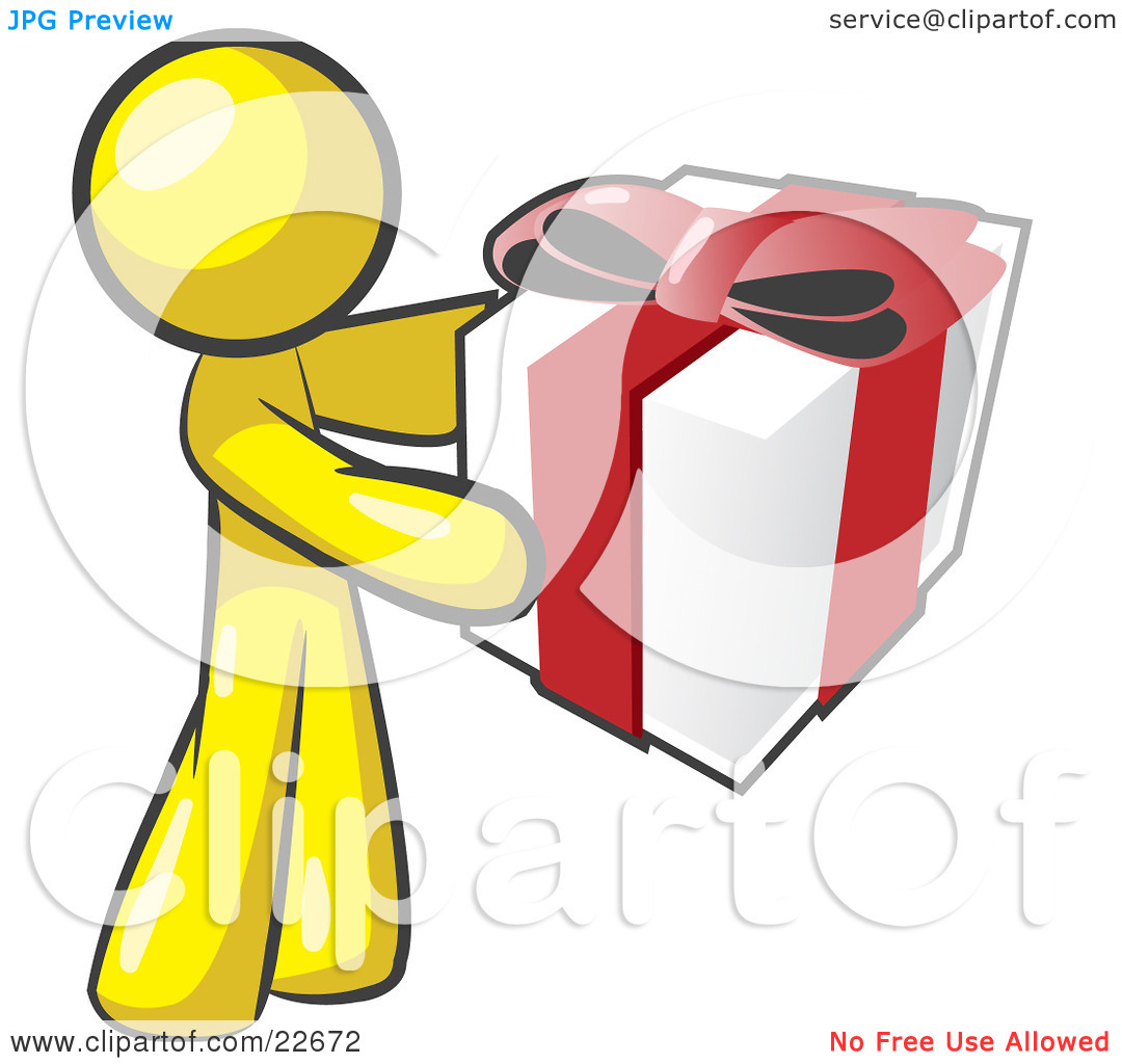 Clipart Illustration of a Thoughtful Yellow Man Holding A.
