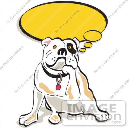 Cartoon Clip Art Graphic of a Thoughtful Bulldog Resting His Chin.