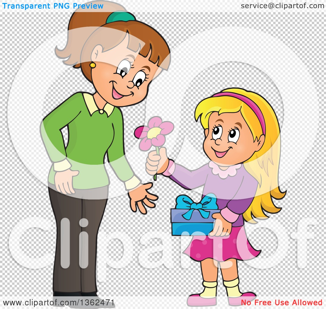 Clipart of a Cartoon Thoughtful Blond Caucasian Girl Giving Her.