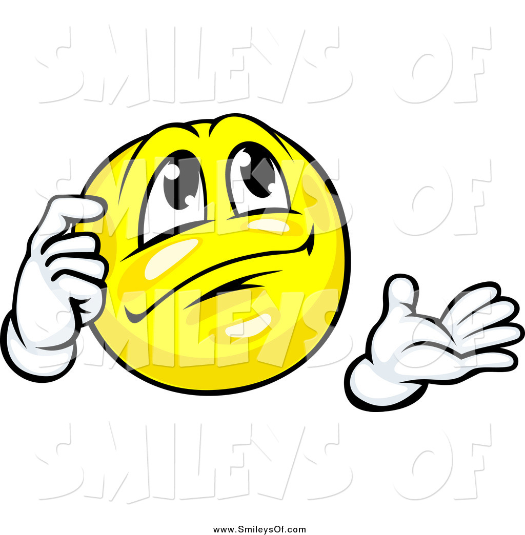 Vector Clipart of a Yellow Thinking Smiley Scratching His Head by.