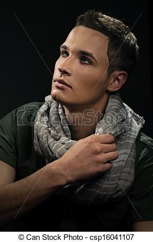 Stock Photography of handsome guy with a thoughtful expressive.