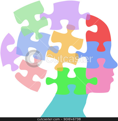 Woman faces mind thought problem puzzle stock vector.