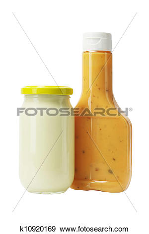 Stock Photograph of Mayonnaise and Thousand Island Dressing in.
