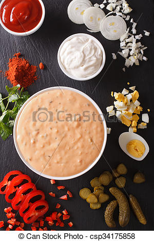Stock Images of Thousand Island Dressing with ingredients close.