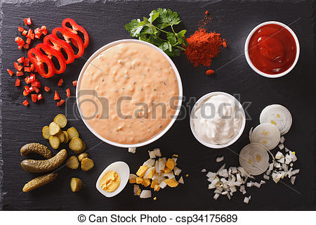 Pictures of Thousand Island Dressing with ingredients. Horizontal.