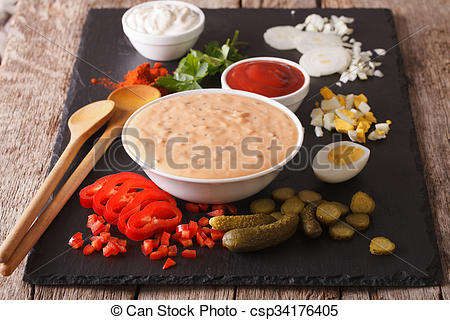 Stock Photography of Thousand Island Dressing with ingredients on.