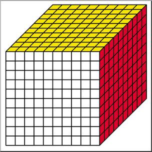 Clip Art: Place Value Blocks Color 1000 I abcteach.com.