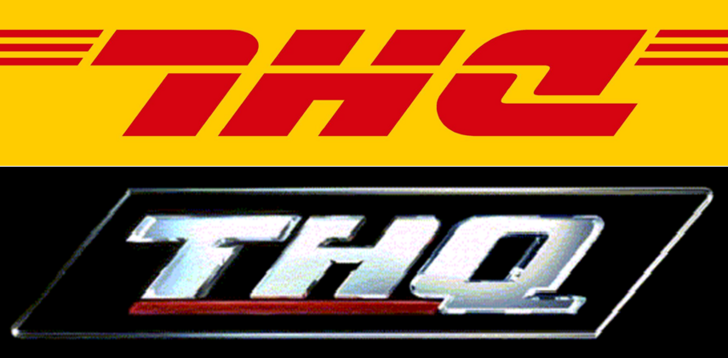 If you turn the DHL logo upside down, it looks like the THQ.