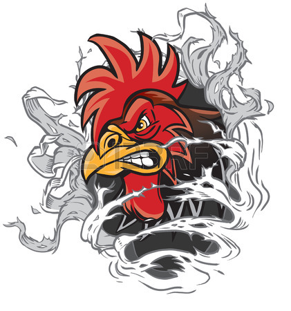 Vector Cartoon Clip Art Illustration Of A Rooster Or Gamecock.
