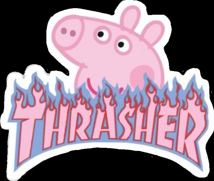 peppa peppapig pink thrasher flame fire blue aesthetic.