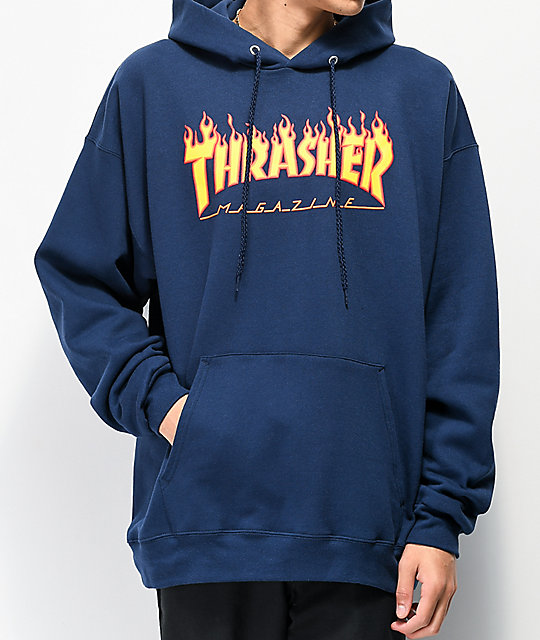 Thrasher Flame Logo Navy Pullover Hoodie.
