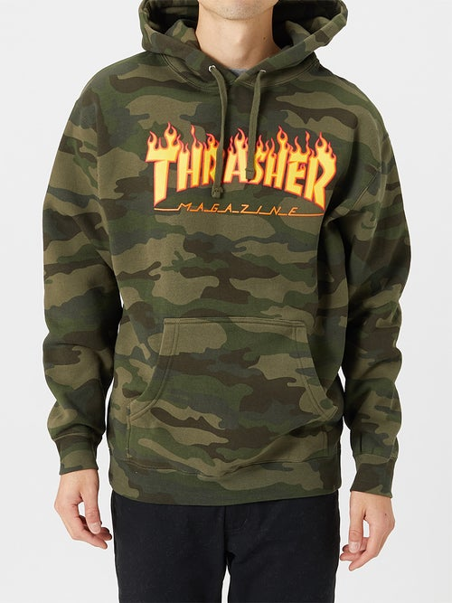 Thrasher Flame Logo Forest Camo Hoodie.