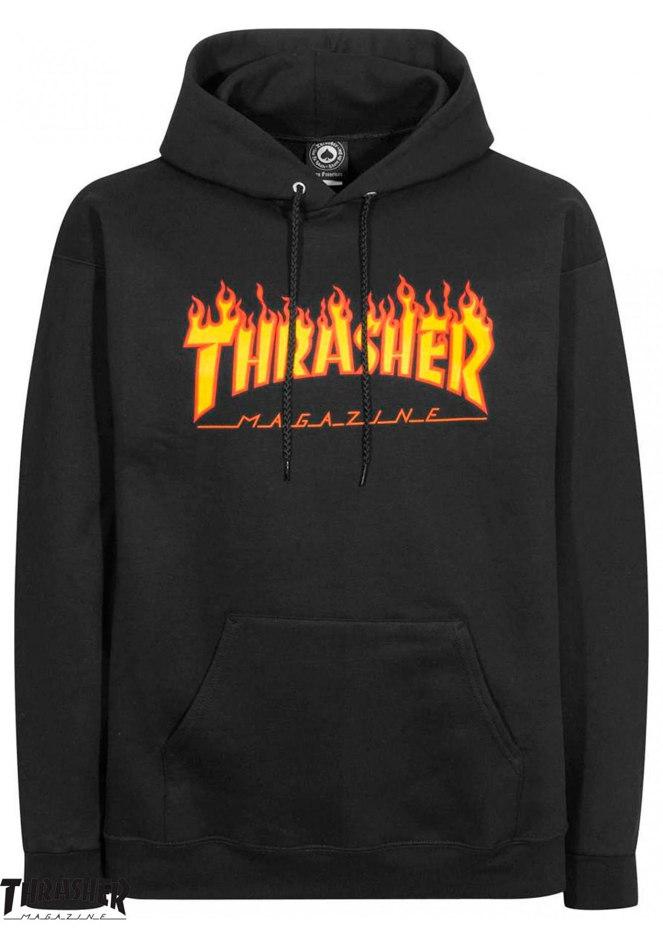 Thrasher Flame Logo Black Hoodie.