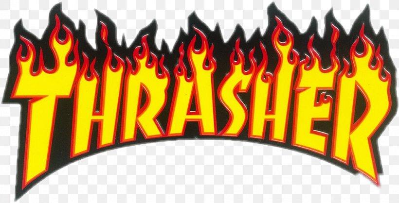 Logo Thrasher Magazine Flame Brand Sticker, PNG, 975x498px.