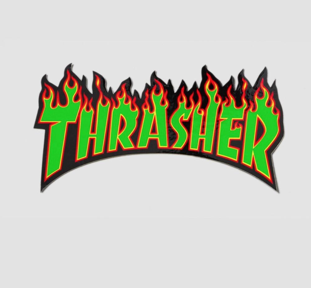 Details about Thrasher Flame Logo Medium Sticker Green/Black.